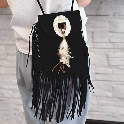 Trendy Women's Crossbody Bag With Magnetic Closure and Feather Design   Black