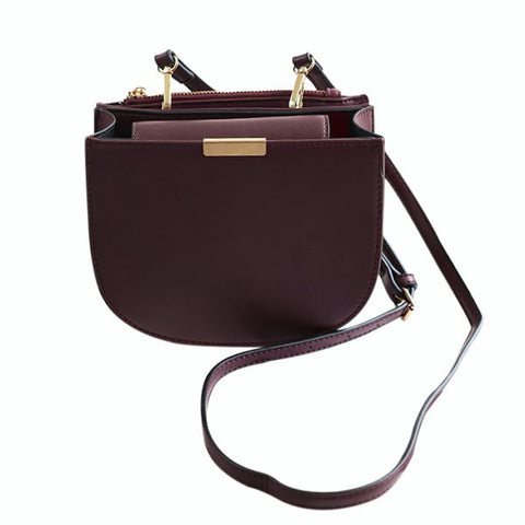 Retro Women's Crossbody Bag With Solid Color and Zip Design   Wine Red