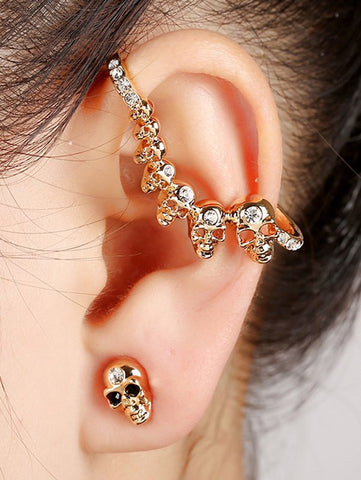 Stylish Rhinestone Skull Stud Earring   Golden