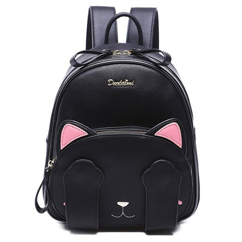 Cute Women's Backpack With Cat Pattern and Black Design   Black