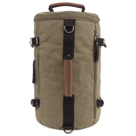 Casual Men's Backpack With Zippers and Canvas Design   Khaki