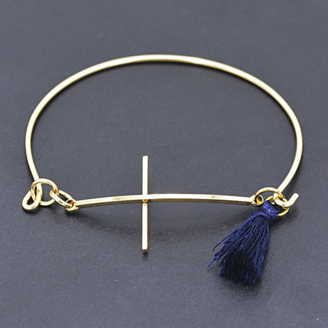 Chic Cross Tassel Bracelet For Women Golden