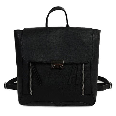 Trendy Women's Satchel With PU Leather and Zippers Design   Black