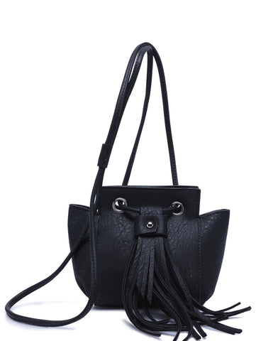 Trendy Women's Crossbody Bag With Fringe and Dark Color Design   Black