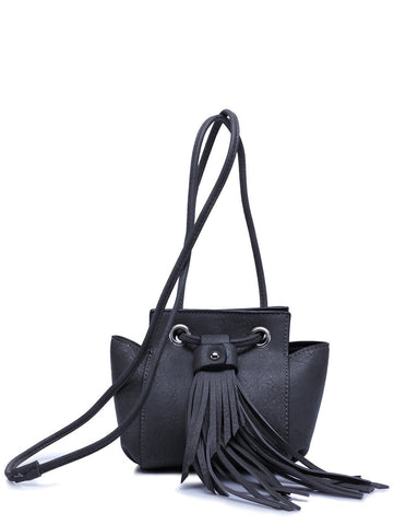 Trendy Women's Crossbody Bag With Fringe and Dark Color Design   Black Grey