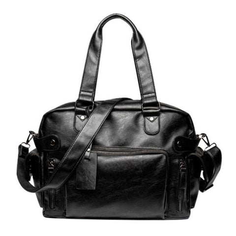 Casual Men's Tote Bag With Black Color and Multi Zips Design   Black