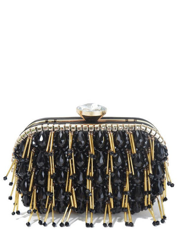 Beading Rhinestone Design Evening Bag in Black, Gold or White