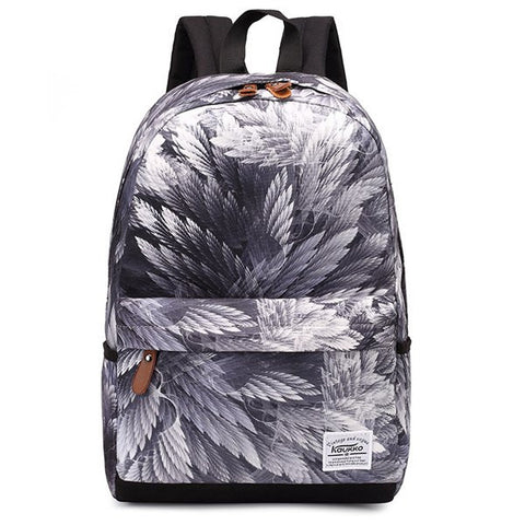 Casual Feather Printed Backpack   Gray