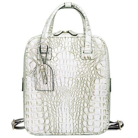 Fashion Women's Backpack With Crocodile Embossed and Zipper Design   Off-White