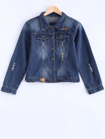 Bleach Wash Frayed Pockets Jean Jacket Denim Blue