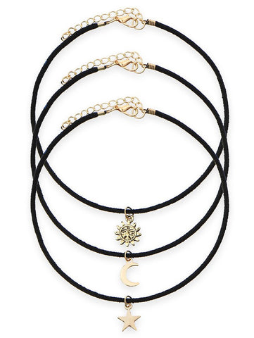 A Suit of Velvet Sun Moon Star Choker Necklaces   Black