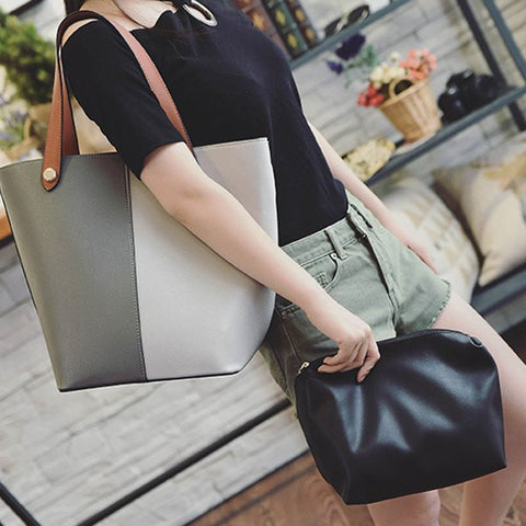 Color Splicing PU Leather Metal Shoulder Bag   Gray