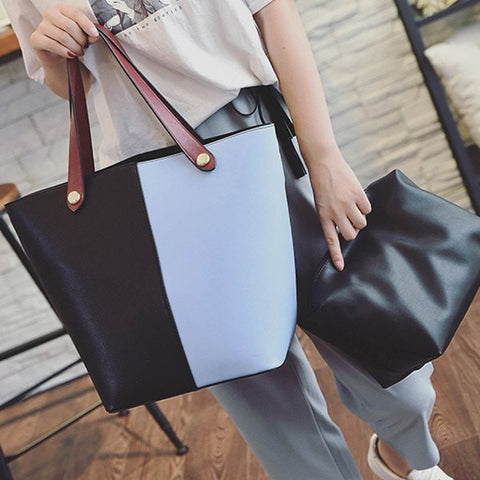 Color Splicing PU Leather Metal Shoulder Bag   Light Blue