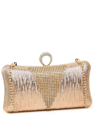 Clip Rhinestone Ring Chains Evening Bag   Golden