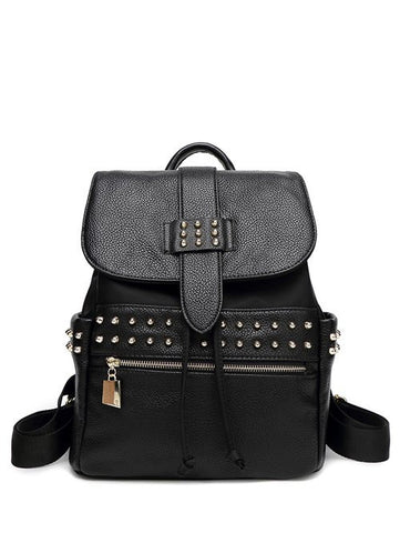 Drawstring Zipper Rivets Backpack   Black