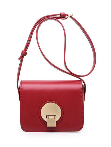 Square Shape Metal PU Leather Crossbody Bag   Wine Red