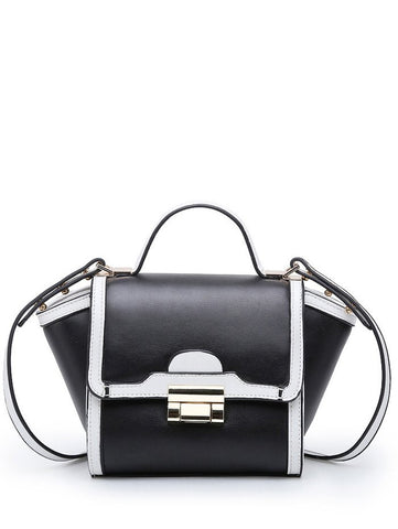 Colour Splicing PU Leather Metal Crossbody Bag   White and Black