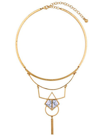 Artificial Stone Hollowed Geometric Necklace Golden