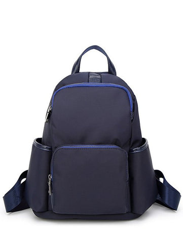 Casual Dark Color Nylon Backpack in Blue or Black