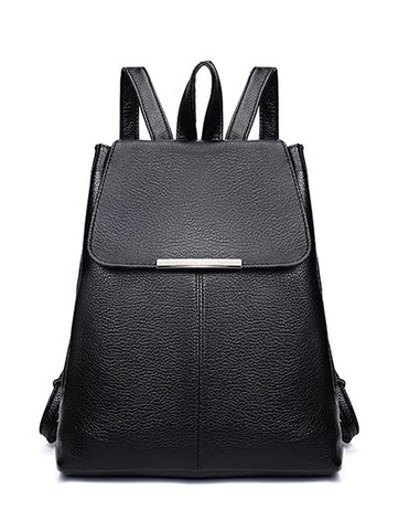 Drawstring Metal Magnetic Closure Backpack   Black