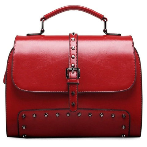 Buckle Rivets PU Leather Crossbody Bag   Red