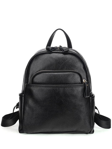 Embossing Zips PU Leather Backpack   Black