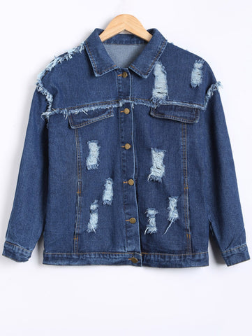 Broken Hole Frayed Jean Jacket Deep Blue