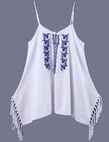 Ethnic Tassel Edge Spaghetti Tank Top with Floral Embroidery   White