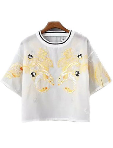 Exquisite Fish Embroidery Organza Cropped Tee with Stripe Neckline   White