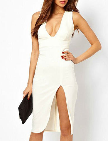 Sexy Bodycon Deep V-Neck Pure Color Dress with Slit Trim   White