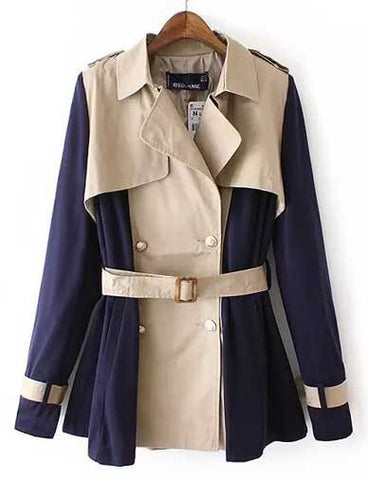 Chic Color Block Lapel Double Breasted Trench Coat   Dark Blue