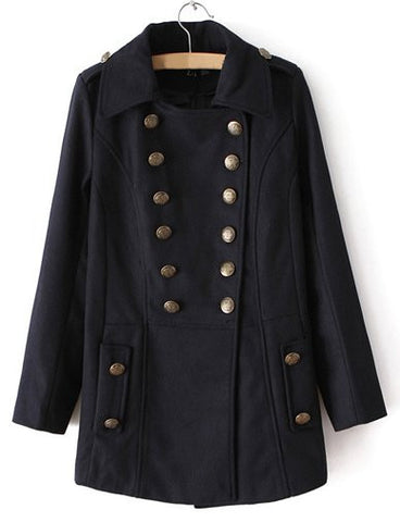 Charming Fold Over Collar Wool Coat in Double Breasted   Dark Blue