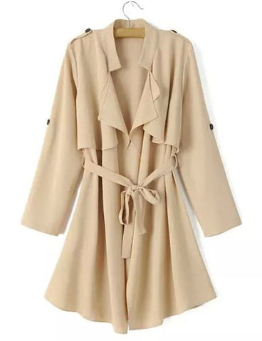 Loose Epaulet Belted Trench Coat with Belted Detail   Khaki