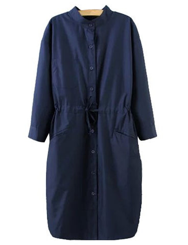 Charming Stand Collar Longline Trench Coat in Single Breasted   Dark Blue