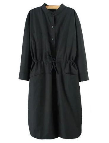 Charming Stand Collar Longline Trench Coat in Single Breasted   Black