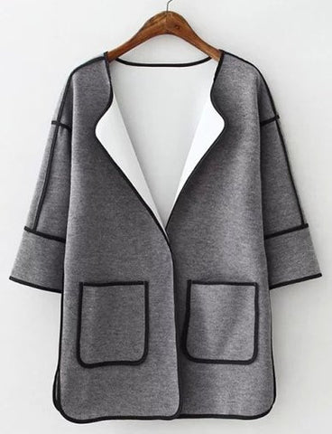 Chic Oversize Patch Pocket Longline Trench Coat with Binding Tape   Gray