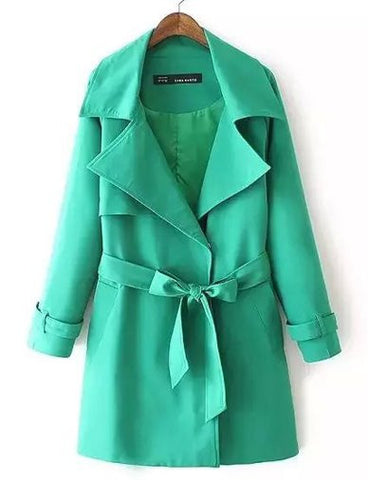 Celebrity Belted Polished Trench Coat in Pure Color   Green