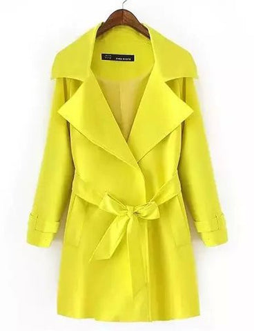 Celebrity Belted Polished Trench Coat in Pure Color   Yellow