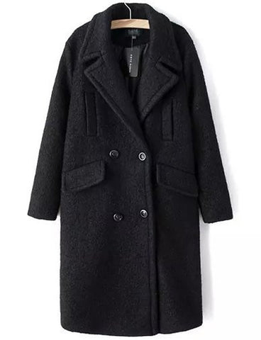 Celebrity Double-Breasted Oversize Wool Coat in Solid Color   Black