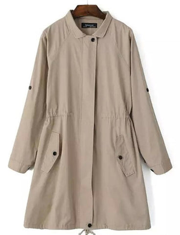 Leisure Fold-Over Collar Drawstring Hem Trench Coat in Pure Color