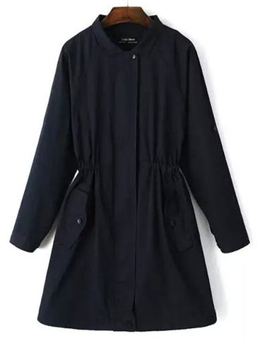 Leisure Fold-Over Collar Drawstring Hem Trench Coat in Pure Color   Dark Blue