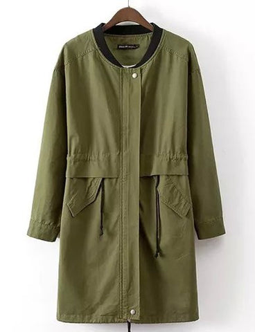Campus Stand Collar Letter Printed Trench Coat with Drawstring   Army Green