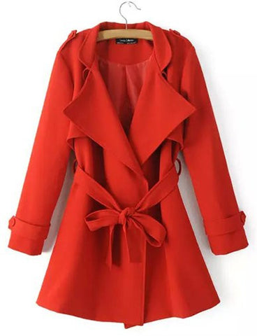 Celebrity Conceal Button Fold-Over Collar Trench Coat with Belt   Red