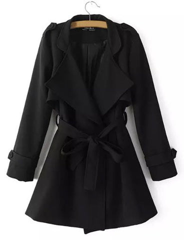 Celebrity Conceal Button Fold-Over Collar Trench Coat with Belt   Black