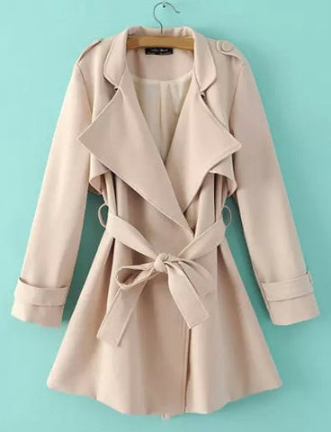 Celebrity Conceal Button Fold-Over Collar Trench Coat with Belt   Khaki