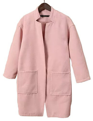 Celebrity Stand Collar Double Pocket Wool Coat in Pure Color   Pink