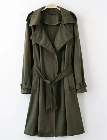 Military Belted Fold-Over Collar Trench Coat in longline   Army Green