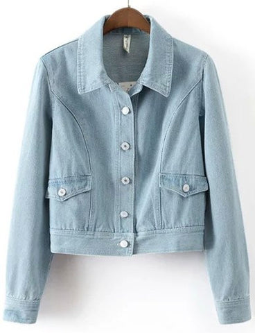 Basic Bleached Denim Cropped Jacket with Point Collar   Light Blue