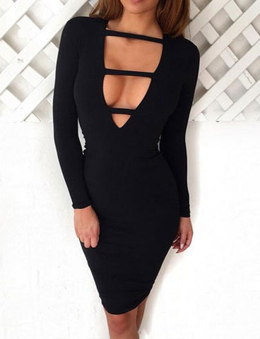 Alluring Deep V-Neck Bandage Club Dress in Solid Color   Black