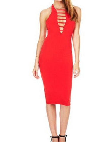 Slim Fit Deep V-Neck Sleeveless Dress in Pure Color   Red